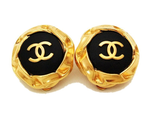 Authentic vintage Chanel earrings gold CC black round clip on
