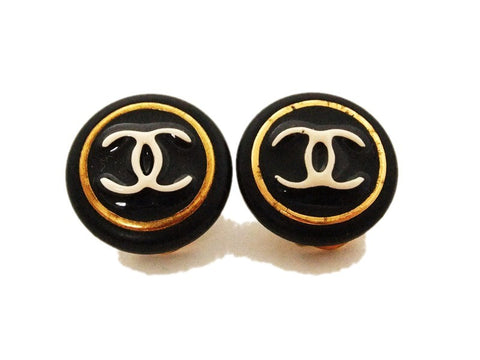 Authentic vintage Chanel earrings white CC black plastic round small