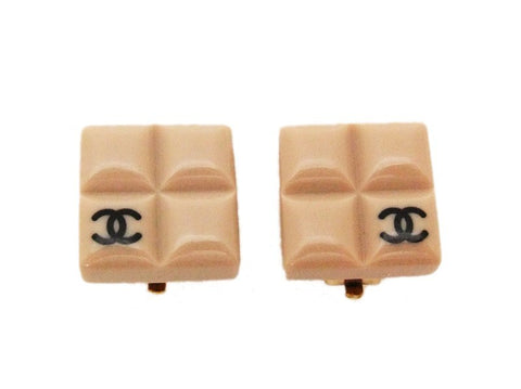 Authentic vintage Chanel earrings black CC beige plastic square small