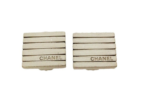 Authentic vintage Chanel earrings logo metallic quad small clip on