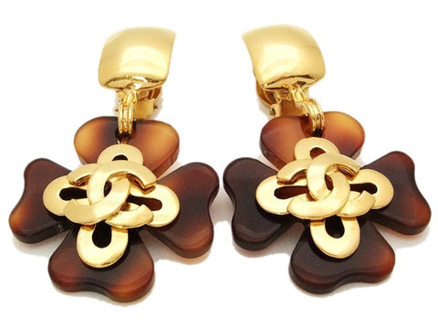 Authentic vintage Chanel earrings swing brown clover gold CC dangle