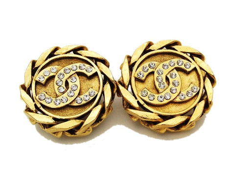 Authentic vintage Chanel earrings gold rhinestone CC round sale