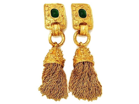Authentic vintage Chanel earrings green stone CC fringe tassel dangle