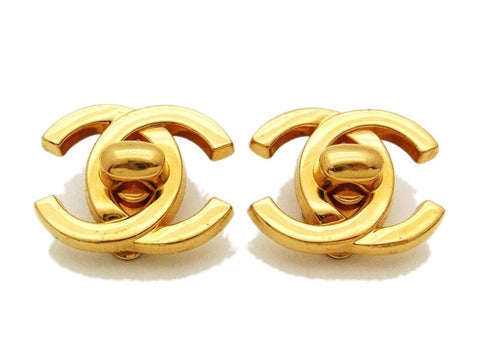 Authentic vintage Chanel earrings gold large turnlock CC