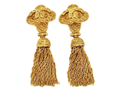 Authentic vintage Chanel earrings gold CC cross fringe tassel dangle