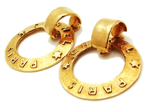 Authentic vintage Chanel earrings gold logo hoop large two way