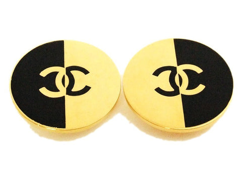Authentic vintage Chanel earrings black and gold CC large round