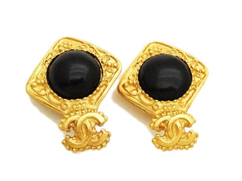 Authentic vintage Chanel earrings gold CC black glass stone rhombus