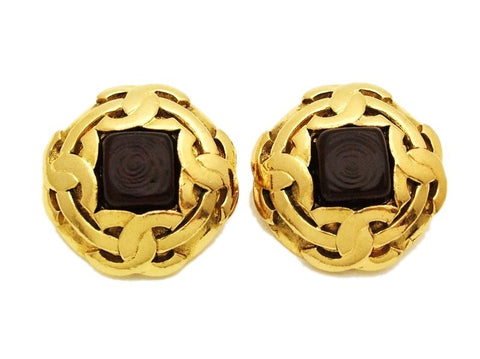 Authentic vintage Chanel earrings red square stone gold 4 CC round