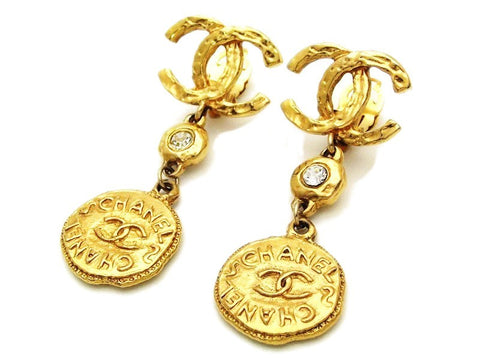Authentic vintage Chanel earrings gold CC rhinestone logo medal dangle