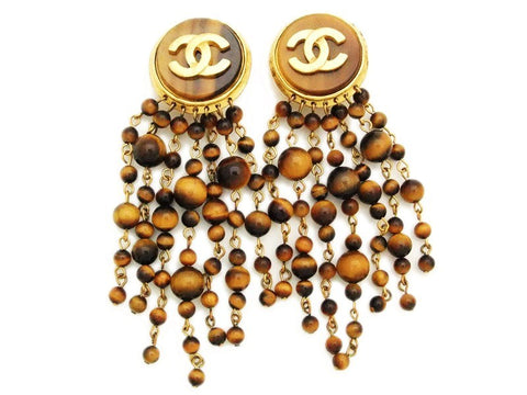 Authentic vintage Chanel earrings CC brown beads fringe tassel dangle