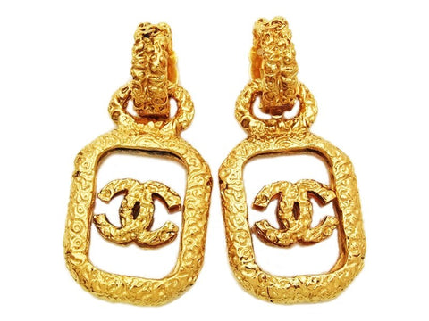 Authentic vintage Chanel earrings gold CC clear plastic dangle big