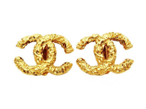 Authentic vintage Chanel earrings gold CC small