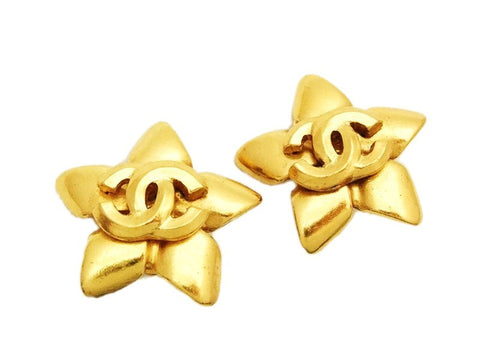 Authentic vintage Chanel earrings gold CC star