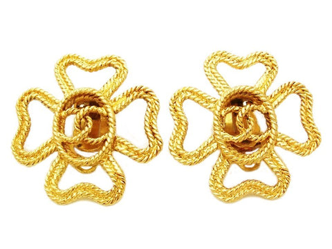 Authentic vintage Chanel earrings gold rope CC clover large clip on