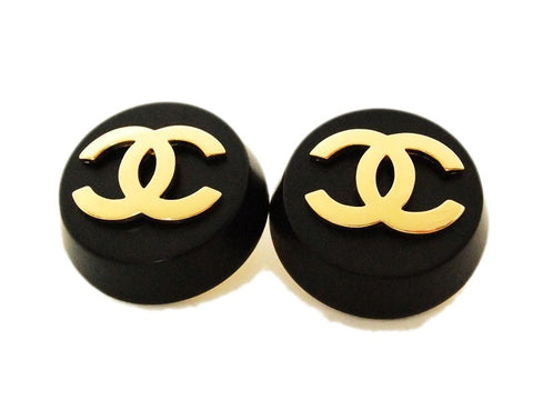 Authentic vintage Chanel earrings gold CC black round large real