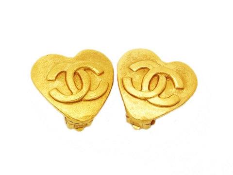 Authentic vintage Chanel earrings gold CC small heart clip on real