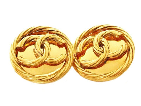 Authentic vintage Chanel earrings gold twisted CC large round real