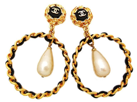 Authentic vintage Chanel earrings CC black leather hoop pearl dangle