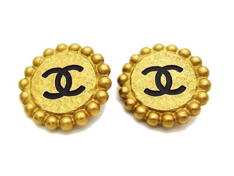 Authentic vintage Chanel earrings black CC gold round classic clip on