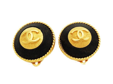 Authentic vintage Chanel earrings gold CC black wood round classic