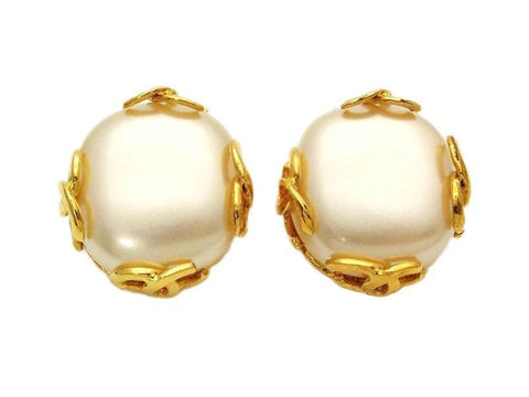 Authentic vintage Chanel earrings pearl gold CC round classic clip on