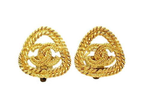 Authentic vintage Chanel earrings gold CC rope triangle classic clip
