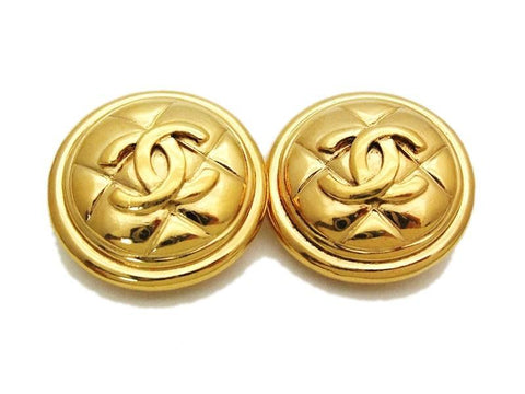 Authentic vintage Chanel earrings gold CC quilted round real