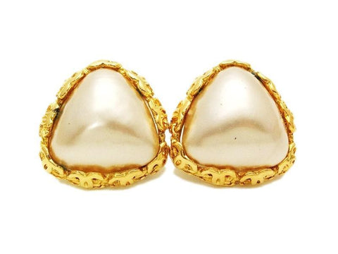 Authentic vintage Chanel earrings pearl gold CC frame triangle clip on
