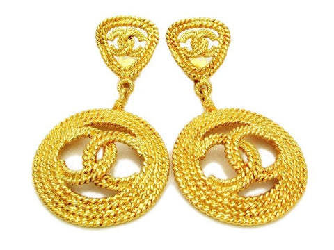 Authentic vintage Chanel earrings huge swing gold CC hoop dangle clip