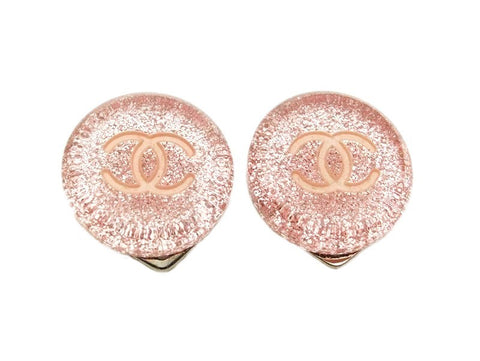 Authentic vintage Chanel earrings CC clear pink silver lame small