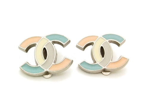 Authentic vintage Chanel earrings pastel color CC small