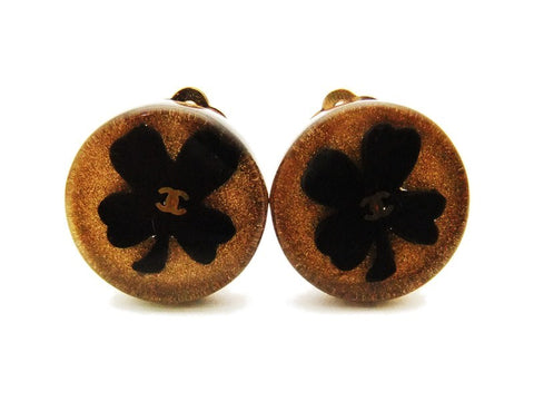 Authentic vintage Chanel earrings CC black clover brown plastic round