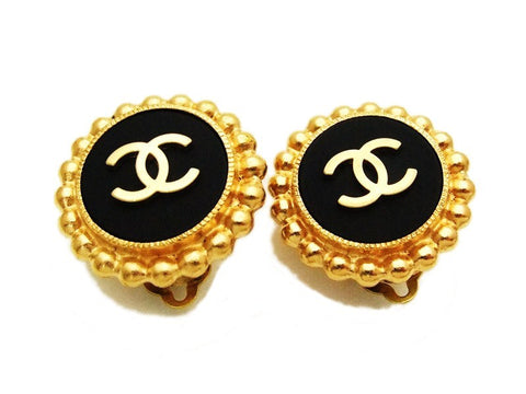 Authentic vintage Chanel earrings gold CC black round real clip on