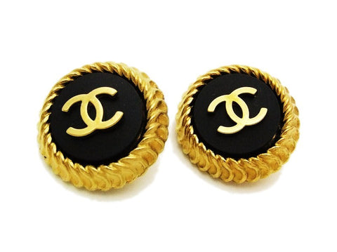 Authentic vintage Chanel earrings gold CC black notched round jewelry