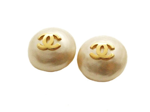 Authentic vintage Chanel earrings gold CC white pearl round classic
