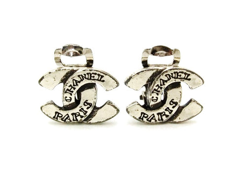 Authentic vintage Chanel earrings silver CC logo small real clip on