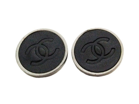 Authentic vintage Chanel earrings CC black leather round small