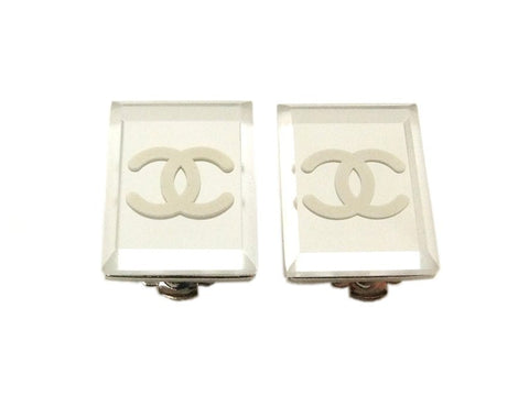 Authentic vintage Chanel earrings white CC mirror silver quadrangle