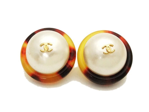 Authentic vintage Chanel earrings gold CC pearl tortoiseshell round