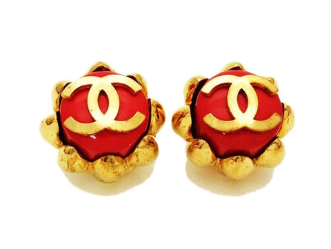Authentic vintage Chanel earrings gold CC red plastic clip on