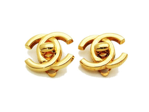 Authentic vintage Chanel earrings gold CC turnlock small