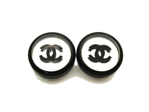 Authentic vintage Chanel earrings black cc mirror plastic round small