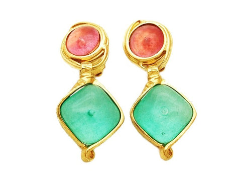 Authentic vintage Chanel earrings pink light blue stone logo dangle