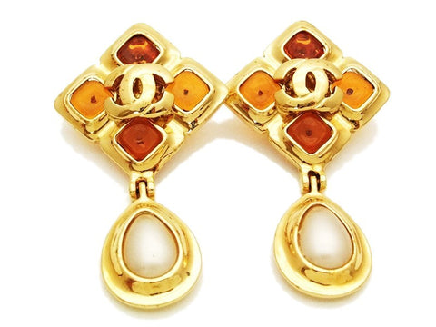 Authentic vintage Chanel earrings CC orange stone pearl drop dangle