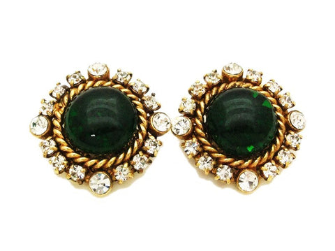 Authentic vintage Chanel earrings green glass stone rhinestone round