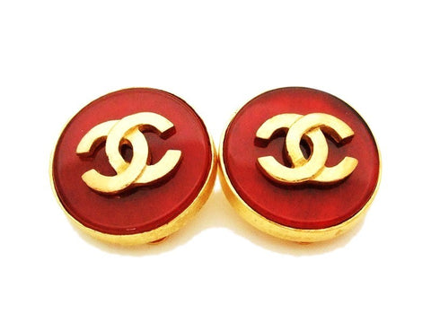 Authentic vintage Chanel earrings gold CC red glass stone round clip