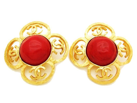 Authentic vintage Chanel earrings gold CC red stone flower large real