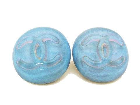 Authentic vintage Chanel earrings CC clear light blue plastic round