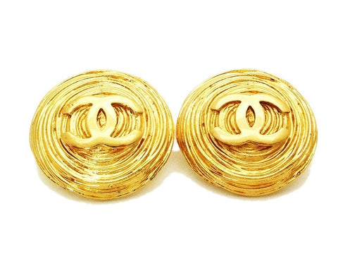 Authentic vintage Chanel earrings gold CC logo large round double C